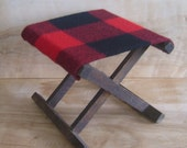 SALE Vintage Camp Stool - Pendleton Wool Fabric