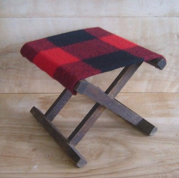 SALE Vintage Camp Stool - Pendleton Wool Fabric