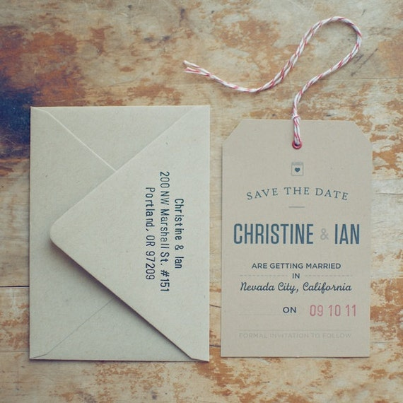 Reserved for Lisa - SAMPLE Rustic Kraft Save the Date Tag with Eyelet, Twine and Envelope with Hand-Stamped Return Address