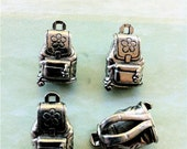 Backpack Charms -4 pieces-(Antique Pewter Silver Finish)--style 679--