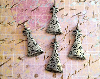 Birthday/ Celebration Hat Charms--4 pieces-(Antique Pewter Silver Finish)--style 970-