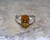 15% Off Sale.S90 Made to Order...New Sterling Silver Simple Contemporary Designed Ring With 3 Carat Natural Citrine Gemstone
