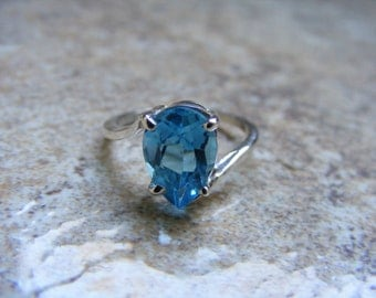 15% Off Sale.S116 Made to Order...New Sterling Silver Simple Contemporary Designed  Ring With Natural Blue Topaz Gemstone