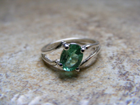 Made to Order...New Sterling Silver Offset Designed  Ring With Natural  Green Tourmaline Gemstone