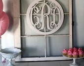 """Painted White-Large (18"""") Wooden Circled Monogram-Monogram your Home"""