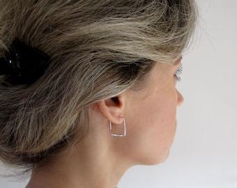 Sterling Silver Square Earrings - Elegant Open Square hoop Earrings for women - Square Hoops - Modern Earrings - Geometric Fashion Jewelry