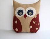 americana burlap owl pillow, rustic, fall/christmas decor, red and tan stars, navy blue, country, unisex, READY TO SHIP