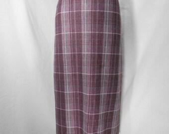 vintage 1970s plaid maxi skirt / size medium