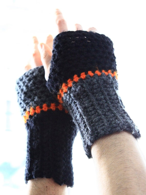 Men fingerless gloves winter fashion for him, Aeolus, in charcoal, black, orange, vegan friendly