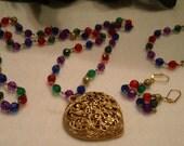 3 piece set HEART LOCKET Necklace Earrings & Bracelet Jewel Colors