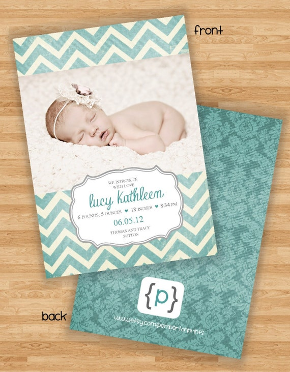 Baby Girl Birth Announcement - Chevron Stripe - Aqua Blue/Cream/Gray