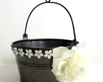 CLEARANCE - Flower Girl Basket - Fall Wedding Flower Girl Basket Alternative - Tin Basket -Ivory Rose Basket