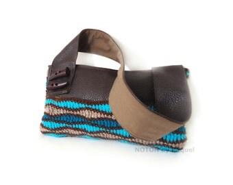 Crochet Vegan Purse, Brown and Blue Bag, Vegan Purse