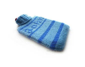 Knit Hot-water Bottle Cover in Blue Stripes for John