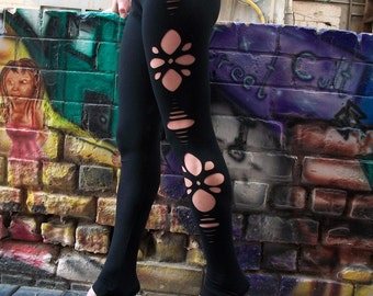 Black Long Flower Cut Out Leggings, black leggings