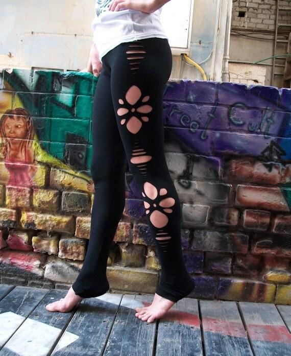 Black Long Flower Cut Out Leggings, black leggings