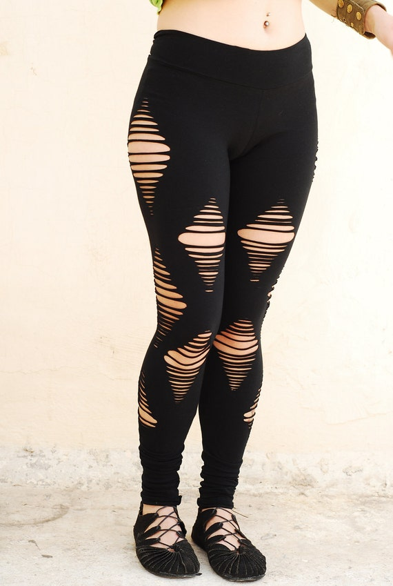 Ripped Black Leggings Yoga wear sexy black tights Hippie