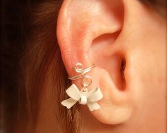 Ear Cuff, Dainty and Feminine Silver Cuff with White Bow Charm