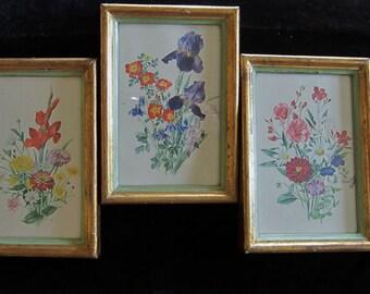 Art Flowers Italian Style Vintage 3 Floral Prints w/ Frames
