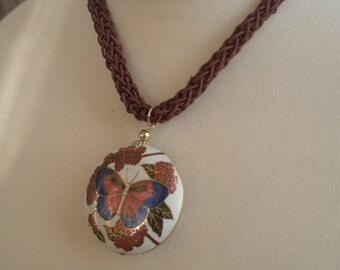 70's Cloisonne Butterfly Pendant on Cord, double sided, choker, adjustable, original, retro jewelry, egst, Greece