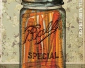 "Canning Ball Jar Orange Carrots Green Floral Wallpaper Putting Up The Season Series Large 16"" x 20"" Canvas-Wrapped Frame: Carrots"