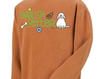 English Setter Doodle Garment Dyed Crew-neck Sweatshirt