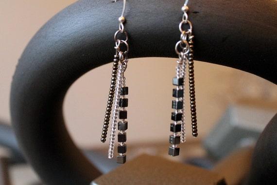 FREE SHIPPING Sardinia - Long Dangle Cube Statement Earrings (Modern, Stylish, Ethnic) FREE Gift Box