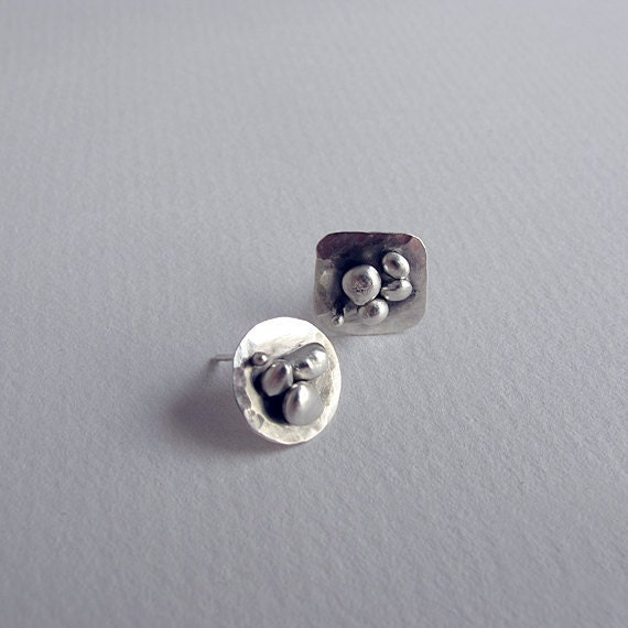 Handmade Silver Post Earrings