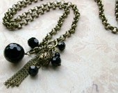 Tassel Necklace, Lariat Style, Long and Lovely, Black Glass baubles and balls