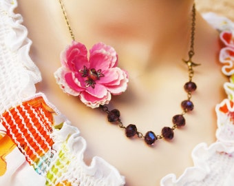 pink rose assymetrical necklace, asymetric necklace