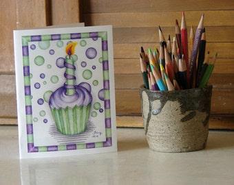 Cupcake Birthday Candle Greeting Card