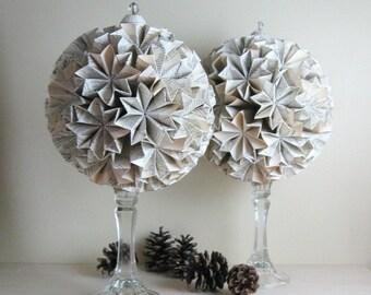 Large Paper Globe of Stars - Origami Kusudama - Book Paper Sculpture - Black and White Art - White Home Decor Paper Anniversary White Globe