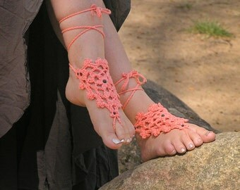 BAREFOOT SANDALS, Crochet, Coral Beach Wedding, Nude Shoes, Peach Foot Jewelry, Summer, Gypsy Hippie Bohemian Sandles, Anklets, Pool, Cotton