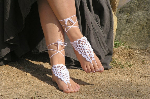 Barefoot Sandals, Crochet, Beach Wedding Foot Jewelry, Made to Order