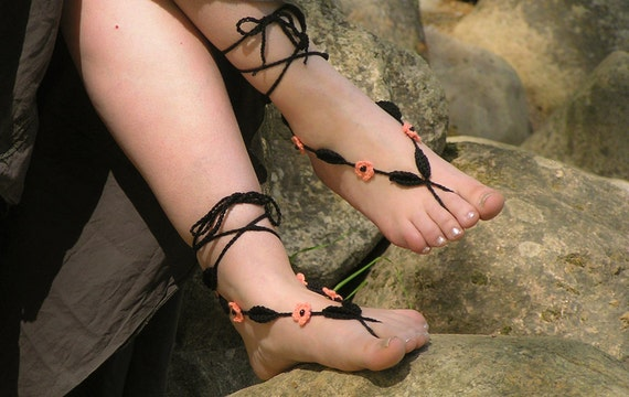 BAREFOOT SANDALS, Crochet, Black, Coral, Nude Shoes, Beach Wedding Foot Jewelry, Hippie Sandles, Anklets, Leaves, Flowers, Made to Order