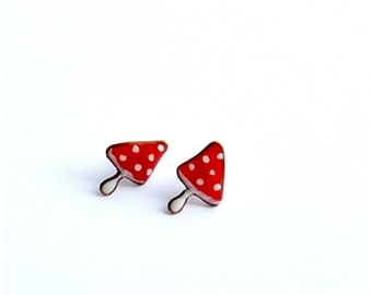 Stud Earrings, Tiny Studs, Mushrooms earrings, Red polka dots studs, polymer clay ear posts, Red Studs