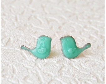 Bird Earrings, Mint Ear posts, Bird studs earring, Cute earrings, birds jewelry,  little mint birds, small gift, Graduation