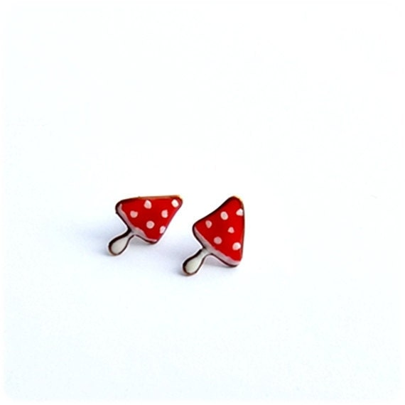 Stud Earrings Tiny Mushrooms Red polka dots