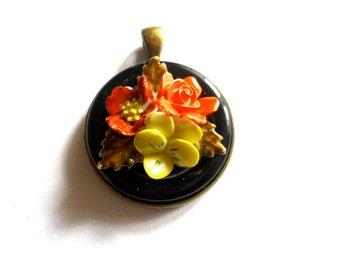 Flower  Pendant  Bouquet Bone China Upcycled Vintage Earring