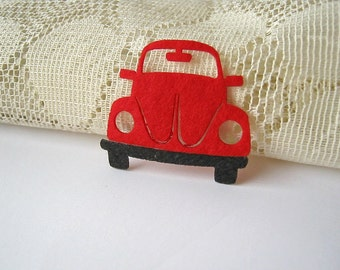 Iron on Applique Red Beetle, Volkswagen Red Car, kid, woman, toy, baby shower, Iron Patch, shirt decoration, School Project, Scrapbook, F1