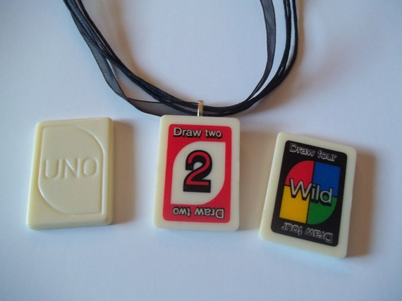 Uno Draw 2 or other card handcrafted Game Piece Necklace on voile necklace with gift bag