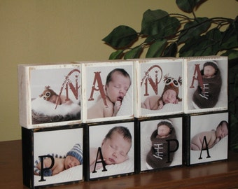 Fathers Day Gift Grandparent Gifts for Dad Gifts for Him Papa Gifts Father Gift Grandpa Gift for Dad Mens PERSONALIZED PHOTO BLOCKS Set of 4