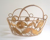 "Fab Vintage Mod Metal Flower Basket, Gold Tone, 12"" long x 9"" wide for Decor, Storage and Organization"