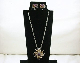 Amethyst Art Deco Starburst Necklace and Earring Set