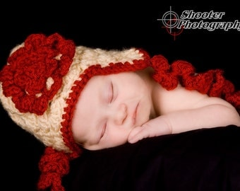 Classic Ruby Red Rose Flower Curly Ear Flap Crochet Baby Hat  Made to Order All Sizes (Newborn - Toddler)