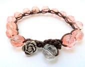 Czech glass beads rose bracelet, rose bracelet, silver flowers, spring, 2012,boho,bohemian,chic, shabby, beach bracelet