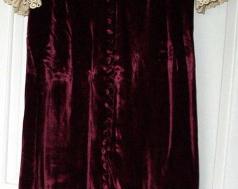 COUTURE VICTORIAN dress in Burgundy Silky Velvet * CLEARANCE *