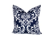 Decorative Throw Pillow Navy Blue  and White ONE Lumbar Sized Pillow Cover. Printed fabric on both sides.