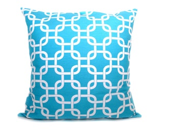 Lumbar Pillow Cover. ONE 12x16 Aqua Pillow Cover. White.Blue.Chain.Lattice.Decorative Throw Pillows.Printed Fabric on Both Sides