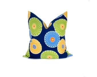 Pillow .Blue Pillow Decorative Throw Pillow Cover Decorator Pillow Cover Housewares Home Decor 16x16 Printed fabric both sides